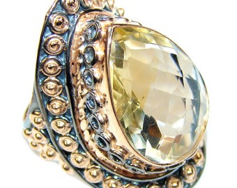 Citrine Sterling Silver Ring - weight 11.10g - Size 6 1 2 - dim L- 1 1 4, W -7 8, T -1 4 inch - code 19-sty-16-66