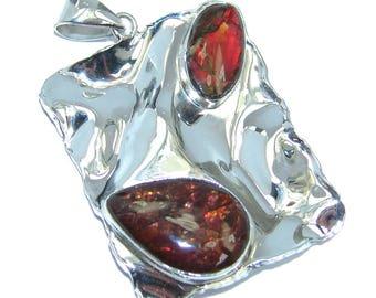Ammolite Sterling Silver Pendant - weight 9.60g - dim L - 1 7 8, W - 1 1 8, T - 3 16 inch - code 26-sie-16-30