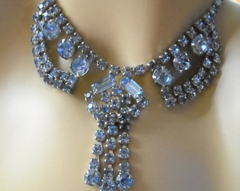 Blue Rhinestone Vintage Necklace, Drop Style, Lots of Detail