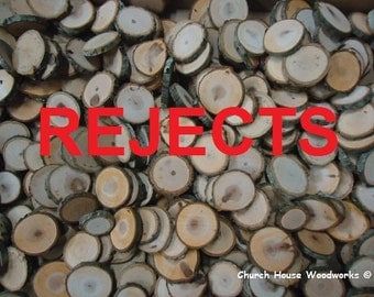250 REJECT Eclectic Wood Slices Mix in small sizes, for crafts, buttons, wood art, wedding table scatters, confetti, wood mosaics