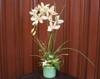 Silk Floral Arrangement - Cream/Pink Orchid (S17-35)