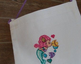 Cross stitch, bag,Ready to ship, aida canvas,handmade,+mermaid, fish, girl, women,female, girl, gift, handle, mede in Italy,sweet, beautiful