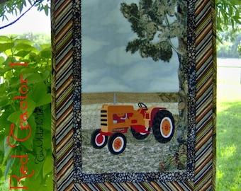 RED VINTAGE TRACTOR One Wall Art Quilt Western Country Farm Décorm Man Cave Gift Item