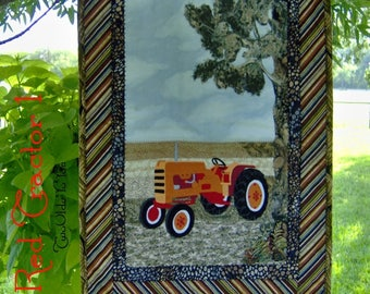 RED VINTAGE TRACTOR, Wall Art, Quilt, Western, Country, Farm, Home Décor,  Man Cave,  Gift Item
