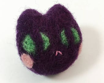 Purple Needle Felted Cat Brooch