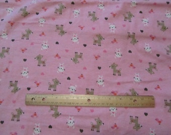 Pink Woodland Animal/Deer/Rabbit Flannel Fabric by the Yard