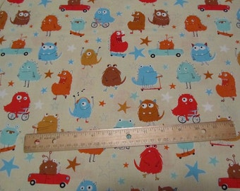 Tan Monsters Adventure Cotton Fabric by the Yard