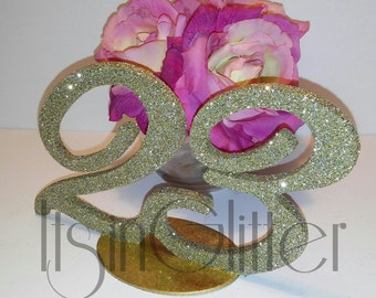 Glitter table numbers for Weddings Parties and Events vintage style