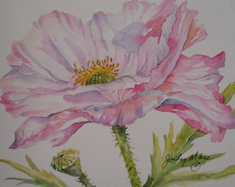 Pink poppy  handpainted original  watercolor greeting card small format