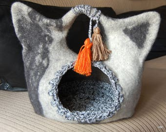 Cat bed, felt cat cave, Cat head, Cat House bag, Cat furniture, Felted cat bed, grey wool cat bed, Cat nap cocoon -made to order