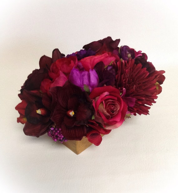Silk Flower Arrangement / Ruby Red / Faux / Artificial Arrangement