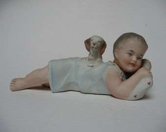 Antique Vintage Biscuit Porcelain Figurine of German Victorian Bisque Porcelain Piano Baby with Puppy