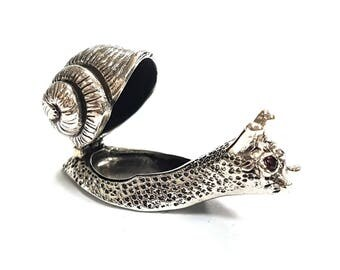 925 Sterling Silver Snail Pill Box With Sapphire Eyes hallmarked