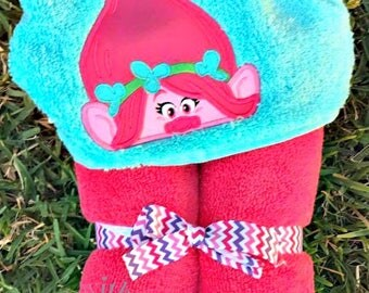 Troll Inspired Hooded Towels-Kids Hooded Towel-Character Hooded Towel-Birthday Gift-Hooded Towel