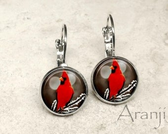 Glass dome cardinal earrings, cardinal earrings, cardinal photo earrings, cardinal leverback earrings, bird earrings, bird jewelry, AN156LB