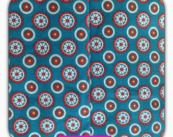 "Cotton fabric ""Lia"" from the House of Kunterbunter, petrol with circles, flowers, retro, 50 cm"