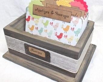 RECIPE BOX, Rustic Recipe Box, Barnwood Recipe Box, Recipe Dividers with Birds, Flowers, Burlap, Wooden Recipe Box, Colorful Dividers