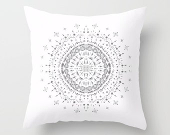 White Silver Mandala Throw Pillow Cover, medallion pillow, white throw pillow, mandala pillow, silver white pillow, bohemian pillow