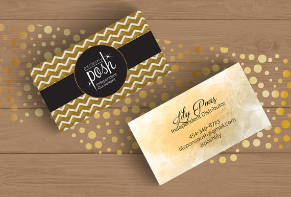perfectly posh business card gold bling chevron editable card template layered psd black. Black Bedroom Furniture Sets. Home Design Ideas
