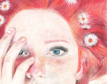 """Colored Pencil Art Print from original drawing """"FIRE"""""""