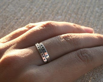 What a beautiful life, Nahko and Medicine for the People. Handstamped Lyric Ring - Sterling Silver, handmade Adjustable