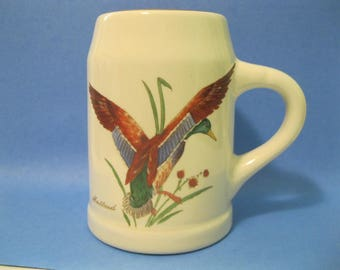 Hall Duck Mug, Heavy White Pottery, Gold on Rim and Handle, Mallard Duck Taking Off