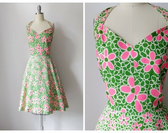 1970s Jonathan Logan  Hot Pink and Green Groovy Floral Cotton Day Dress | Vintage 70s Knee Length Summer Halter Dress | Knee Length Sundress