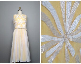 VTG Sheer White Beaded Dress // Yellow Embellished Chiffon Dress // Flowy Vintage Dress