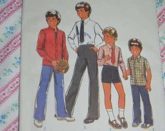 Vintage 70s Style 2174  Boys Shirt Tie Trousers and Shorts Sewing Pattern - UNCUT -  Size 4