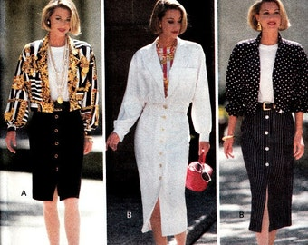 Vintage 90's Sewing Pattern Bomber Style Jacket Button Front Skirt Top Size 12 14 16 Butterick 6650 Uncut Factory Folds