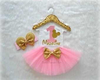 Baby Girl Disney Minnie Mouse, Light Pink and Gold with Custom Name, Birthday Tutu Headband Set, Short and Long Sleeve Bodysuit Tshirt 255
