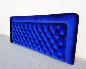 SALE // READY2SHIP - KING Tufted and Ruched Cobalt Blue Headboard