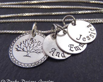 Sterling silver Family tree necklace with kids custom names  hand stamped gift for mom