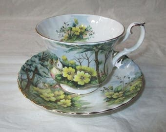 "Royal Albert Bone China England Country Scenes ""Primrose Hill"" Cup & Saucer (c. 1960s)"