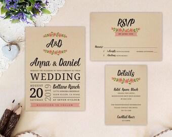 wreath wedding invitation set printed on kraft cardstock invite rsvp postcard enclosure card - Wedding Invitation Rsvp