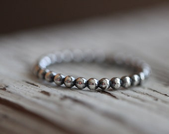 Beaded Sterling Silver Stacking Ring // MADE TO ORDER