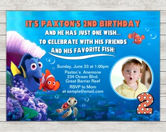 Finding Nemo Birthday Invitation, Nemo Invitation - Digital File (Printing Services Available)