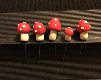 Handmade fimo toadstool pins