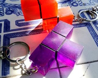 Translucent Tetris piece keychain retro gaming