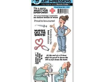 Art Impressions 13pc Proud Nurse Rubber Stamp Set