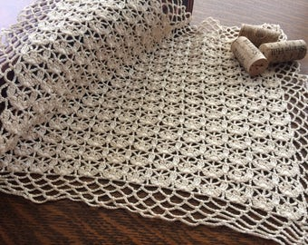Ecru Vintage Lace Handmade Table Mat Doily 13 x 11 size