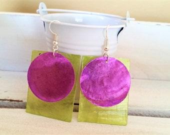 Purple lime green shell earrings - rectangular/disc layered earrings - purple disc shell jewelry - purple/lime green earrings