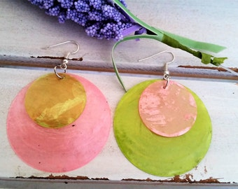 Pink lime green shell earrings - disc layered shell earrings - pink shell jewelry - pink/lime green earrings - shell dangling disc earrings