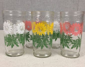 Vintage Daisy Tumblers Juice Glasses Set of 5 Swanky Swigs Pink Yellow White