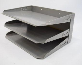 Industrial Metal File Holder, Desk Top, Metal Organizer,mid century, Madmen Office