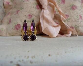 Vintage Clip on Earrings Purple