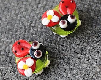 Glass Ladybug Bead - 1 pc Ladybug Beads - Glass Ladybug Beads - Lampwork Ladybug Beads - Ladybug - Lampwork Beads - Lampwork