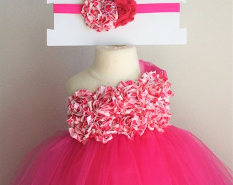 Pink Valentine's Hearts - one shoulder shabby tutu dress and headband