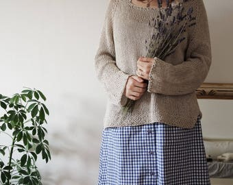 Summer Fields Sweater, Spring Summer Pullover Hand Knitted in Cotton and Linen.