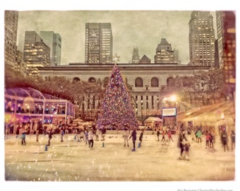 Bryant Park, Holiday Market, Winter Village, Christmas Tree, New York City, NYC, Ice Skating Rink, FREE SHIPPING!